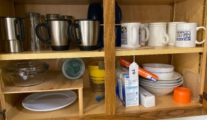 Contents of bottom 2 shelves in cabinet