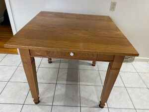 Handmade wooden table with drawer