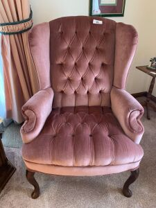 Pair of mauve upholstered arm chairs