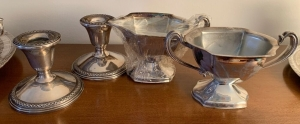 Rogers weighted sterling candleholders,