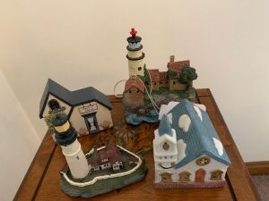 To lighthouse figurines, church, dentist office