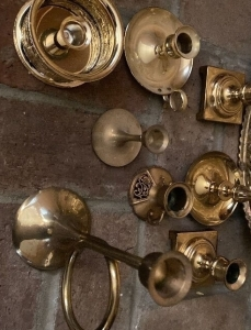 Brass candle holders, brass tray