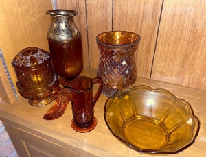 Lot of Amber glass items