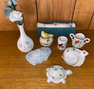 Lefton covered turtle and snail, porcelain bird covered box, 2 bud vases one Lenox, covered dresser box, 2 cardinal pcs