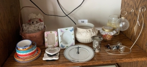 Picture frames, stuffed bear, planter, dishes,