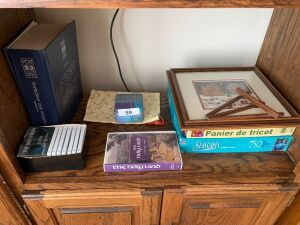 Puzzles, framed picture, cassettes