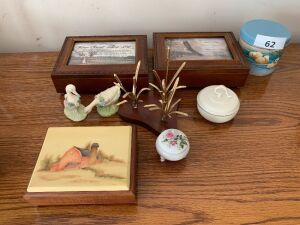 Two musical jewelry boxes, covered jars, miscellaneous