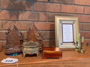 Bookends, small jewelry case, Framed Biblical, and mini candle holder