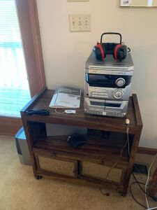 AIWA stereo and rolling cart