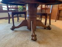 "Quartersawn oak pedestal 48"" table with heavy carved legs - 2"