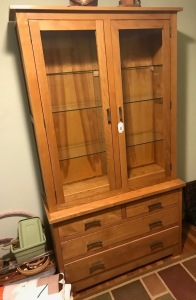 One piece China cabinet with glass shelves