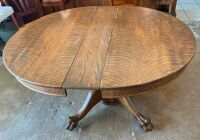 "Quartersawn oak pedestal 48"" table with heavy carved legs - 4"