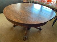 "Quartersawn oak pedestal 48"" table with heavy carved legs - 3"