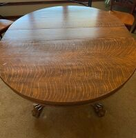 "Quartersawn oak pedestal 48"" table with heavy carved legs - 5"