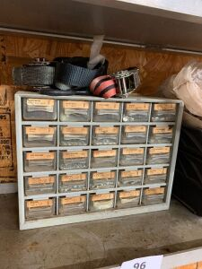 Miscellaneous machine and sheet metal screws and nuts in storage container and miscellaneous