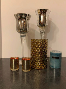 Gold Metallic Candle Set