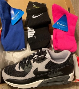 Nike Air Max 90 Grey and White Size 11 and athletic socks bundle