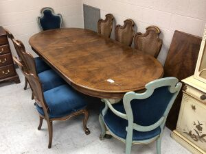 Karges Dining Table w/ 4 leaves; 6 side chairs w/ rattan backs; 2 captains chairs w/ upholstered backs