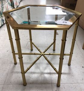 Small brass table w/ beveled glass insert