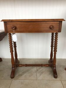 Antique one drawer occasional table with spool legs