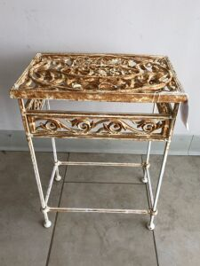 Ornate iron plant stand