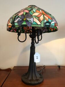 Modern lamp w/stain glass shade