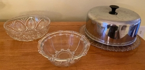 Glass bowls, glass plate and metal cover
