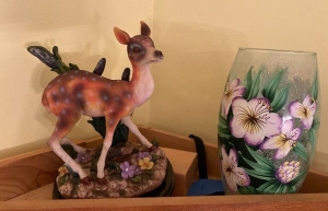 Painted floral vase, porcelain deer figure