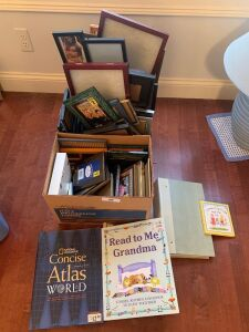 Lot of picture frames & books