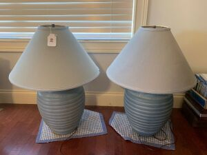 2 blue table lamps