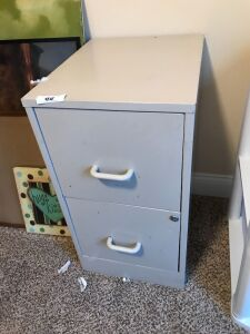 2 drawer metal file cabinet with files