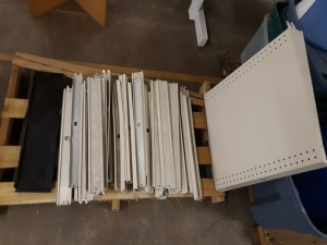 Over 40 two foot wide shelf splines & kick plates and shelf for gondola shelving