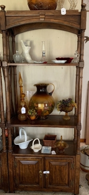 Wooden display shelf with cabinet on bottom
