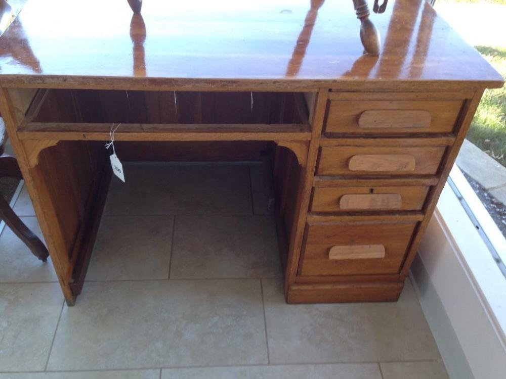 Lot 100 of 377: antique teacher desk from Clay-Huff School ( Spencer Co.  ,IN)(missing a drawer) - Antique Teacher Desk From Clay-Huff School ( Spencer Co. ,IN