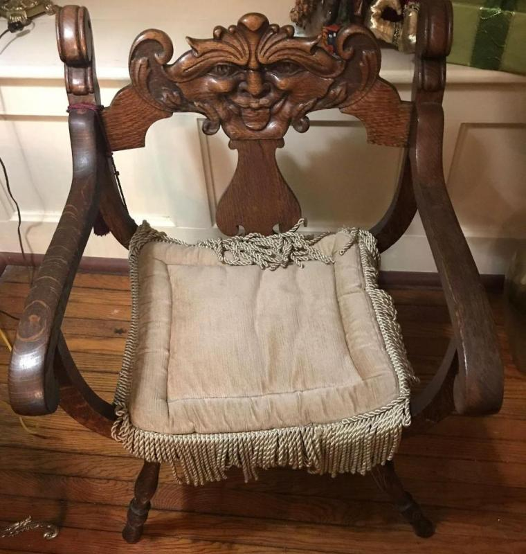 Lot 118 of 397: Antique oak side chair with carved face - Antique Oak Side Chair With Carved Face