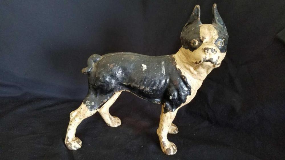 Lot 107 of 745: Vintage Cast Iron Boston Terrier Doorstop - Vintage Cast Iron Boston Terrier Doorstop