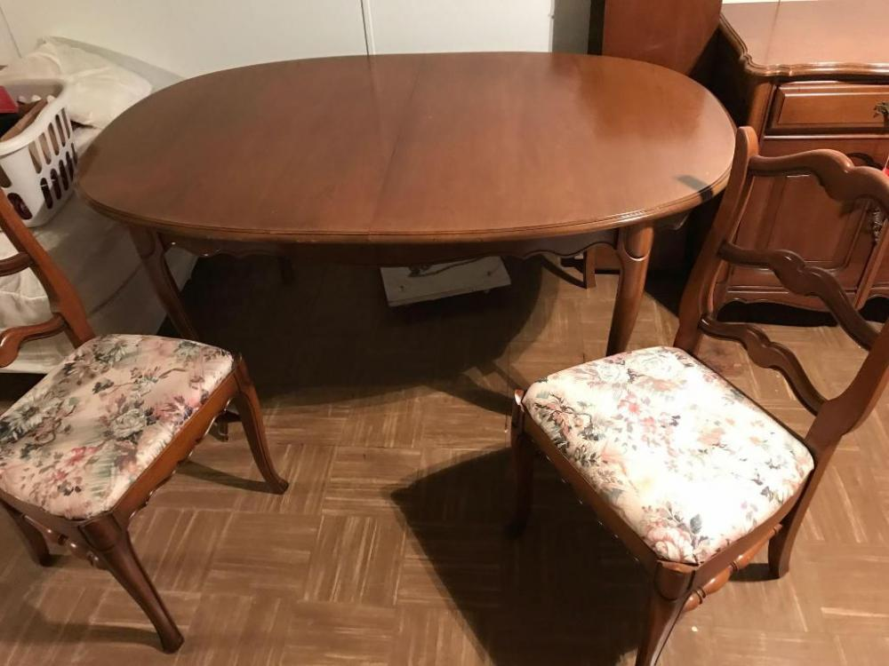 Lot 300A Of 333 Dixie Dining Table W 2 Leaves 6 Chairs Matching Buffet 54L X 34T 20D