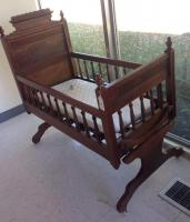 Antique walnut baby cradle