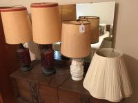 Pr of red & metal vintage lamps; white porcelain lamp; 2 lamp shades