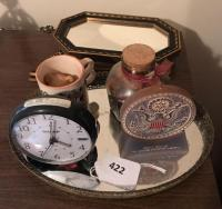 Mirrored tray; Sharp alarm clock; Seal of US candle; wall hangings; Mom mug