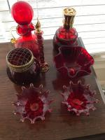 Lot of red glass items