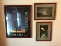 Framed Hale-Bopp poster, 2 framed photographs