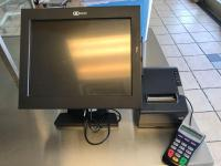 NCR 4 terminal touch screen POS system with thermal printers and hard drive.