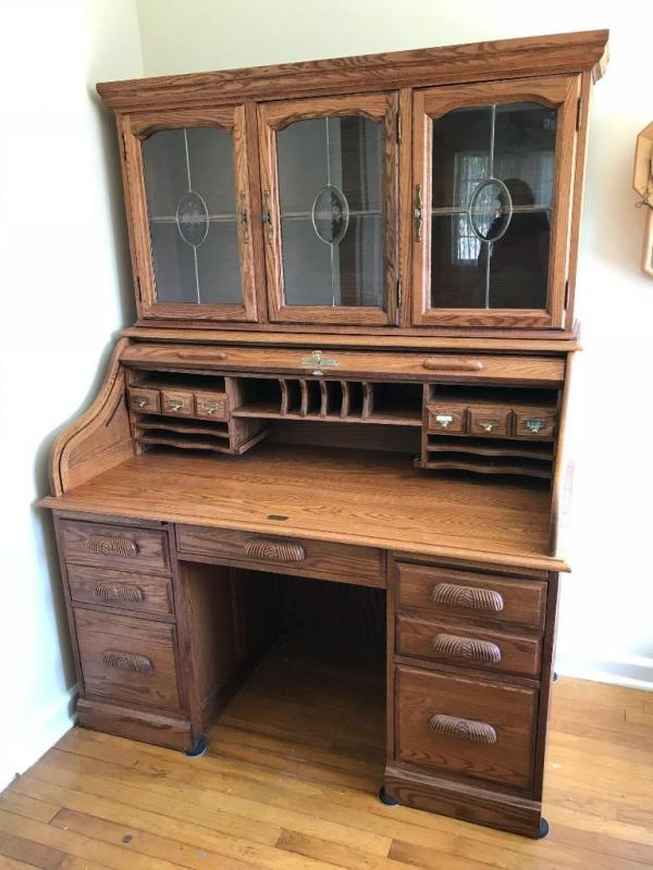 Lot 10 Of 296 Manor Oak Modern Roll Top Desk W Hutch Leaded Glass Doors