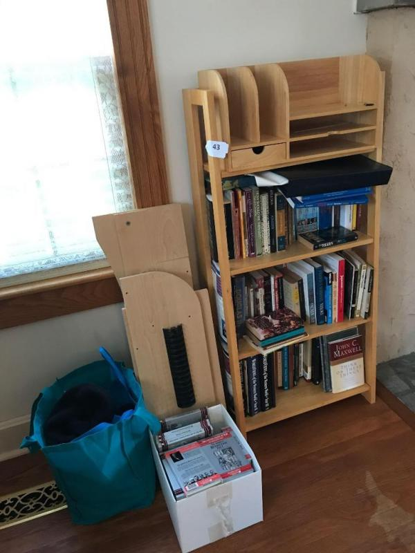 Lot 43 Of 242 Bookshelf And Contents Organizer Books Tape Gloves Scarves Hats