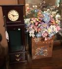 Jewelry armoire with Clock, floral arrangement