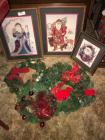 Christmas wreaths, 3 Santa pictures