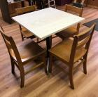 "30"" square pedestal table with 4 wooden chairs"