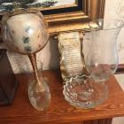 Etched vases; candle holder; fostoria type dish
