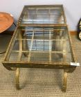 2 glass top side tables